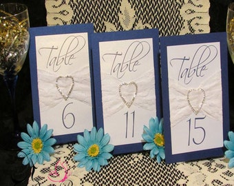 Blue Bling Table Numbers with Lace
