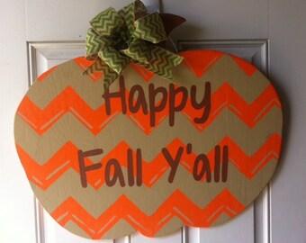 Chevron Pumpkin Door Hanger.