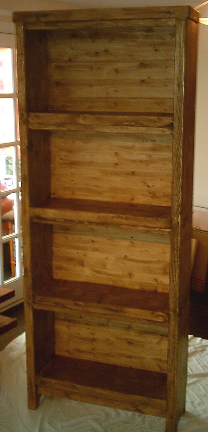 Large hand made rustic thick solid wood bookcase