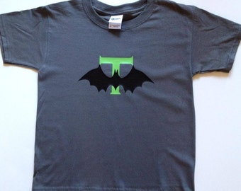 Youth Halloween Bat and Initial Shirt