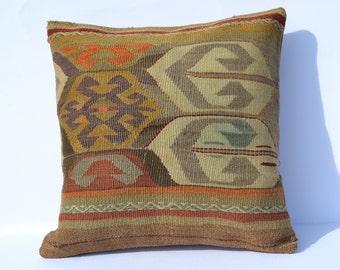 Red Throw Pillow Handwoven Kilim Pillow Ethnic Throw