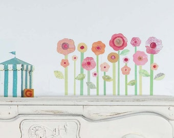 Flower Fabric Wall Decals - Pink Flower Wall Stickers