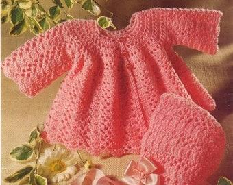 Baby Crochet Pattern Dress Angel Top and Bonnet - 19 - 20 ins