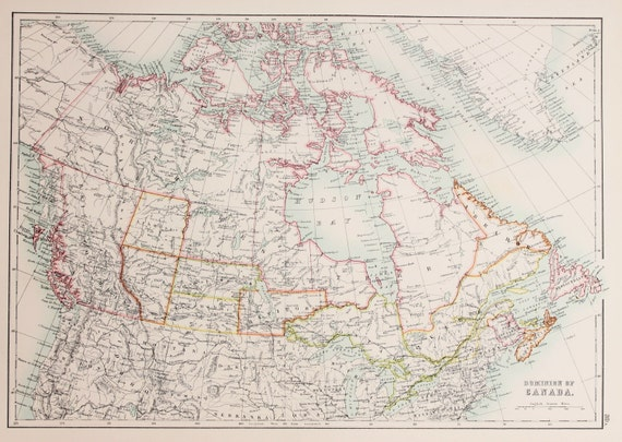 Large 1897 Blacks Antique Folding Colour Map Dominion of Canada