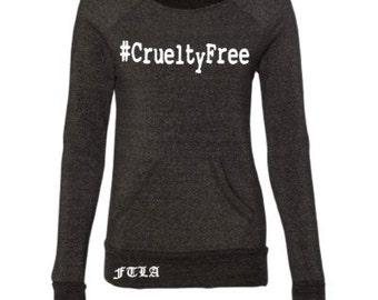 Beagle Freedom Project FTLA Apparel  - #CrueltyFree - Eco Black Off The Shoulder Eco-Fleece Sweatshirt