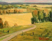 Original Rolling Hills 8_4 Original oil painting landscape painting by TomFisherArt impressionist landscape art