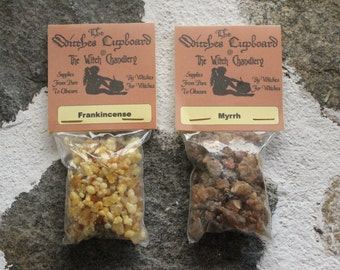 Frankincense and Myrrh, incense resins, earthy scents, Wise Men gifts, incense making, holy resins, wiccan tool, incense ingredients,  yule