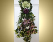 Summer Wreath Everyday Wreath Teardrop Door Twig Swag Vertical Door Decor Purple Lily,Roses wreath