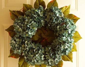 Summer Wreath, Door Wreath, Hydrangea Wreath Blue Turquoise Blooms Fall Front Door Decor, Autumn Flowers