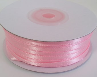 "1/8"" and 1/16"" Pink Double Face Satin Ribbon - 100 Yards"