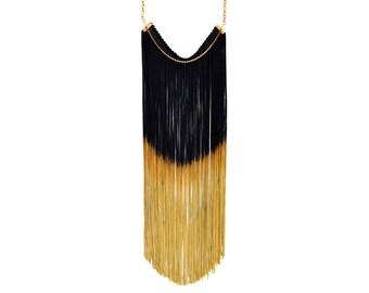 Fringe Statement Necklace, Black and Gold Elegant Necklace, Long Fringe Necklace, Dramatic Necklace