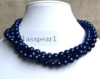 navy pearl necklace,bridesmaids necklace,3-rows pearl necklaces,wedding necklace,glass pearls necklaces,vintage pearl necklace,wedding