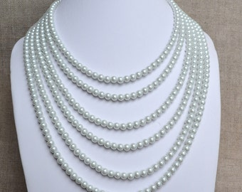 white pearl necklace,6 strands pearl necklace, 16.5-25.25''pearl necklaces,wedding necklace,bridesmaids necklace,glass pearls necklaces