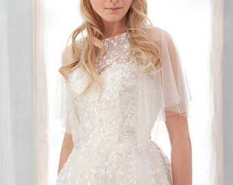 Tulle sweetheart gown with sleeves