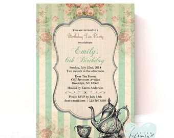Girl Birthday Tea Party Invitation - Girl Birthday Party Mint Vinatge Floral - Printable No.05KIDS