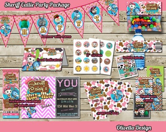 Sheriff Callie Birthday Party Package, Printable Party Kit Invitation Banner Food Tent Labels Thank you cards Birthday Party Package