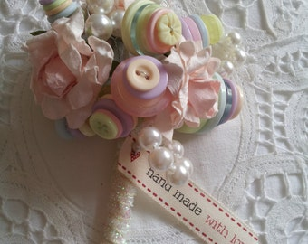 Floral Pastel Paper Rose and button Corsage