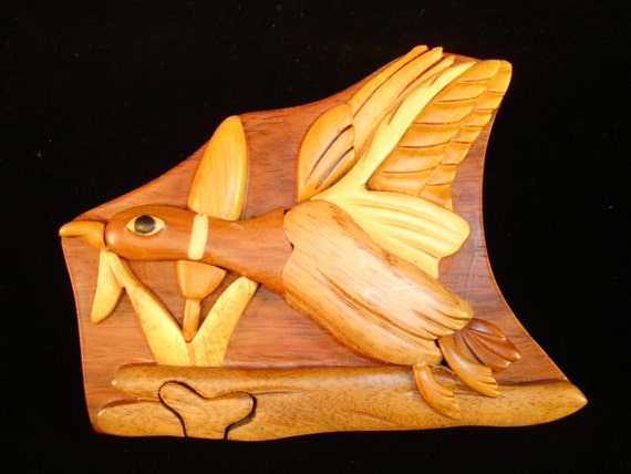 Hand carved wood art intarsia flying duck puzzle by
