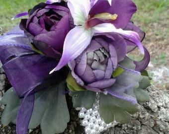 Plum Wristlet, Lavender Wristlet, Wrist Corsage, Mothers Corsage, Orchid Corsage, Corsage Alternative, Fuchsia Corsage, Prom Wristlet