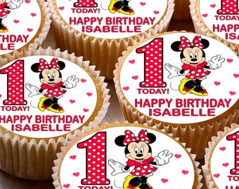 24 x Personalised Minnie Mouse Cup Cake Toppers with Any Name Happy Birthday