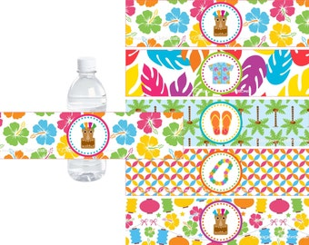 Tiki Hawaiian Luau Water Bottle Labels - INSTANT DOWNLOWD - DIY Printable File Party Decorations