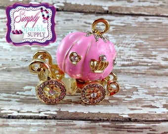 Chunky necklace carriage pendant gold tone bling pendant pricess pumpkin carriage