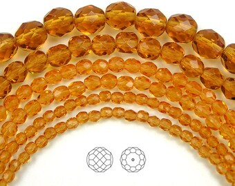 4mm (102pcs) Topaz, Czech Fire Polished Round Faceted Glass Beads, 16 inch strand