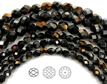 4mm (102pcs) Jet Valentinite half coated, Czech Fire Polished Round Faceted Glass Beads, 16 inch strand