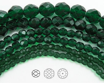 10mm (41pcs) Medium Emerald, Czech Fire Polished Round Faceted Glass Beads, 16 inch strand