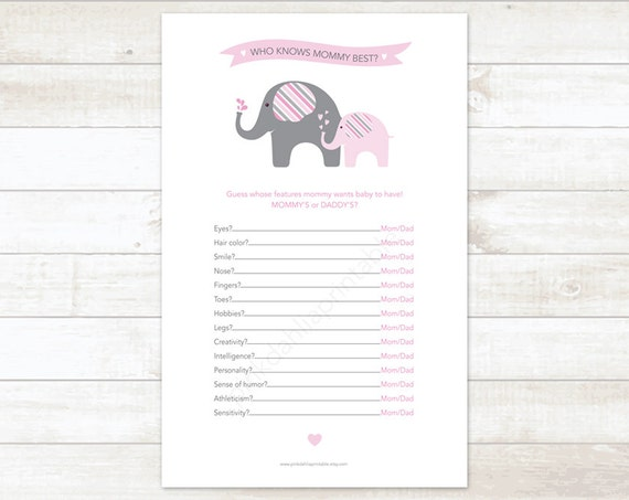 who knows mommy best baby girl shower game baby shower printable game