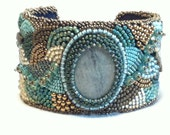 Handmade Bead Embroidery Cuff. Teal Cuff. Antique Gold Cuff.  Adjustable Cuff. Metal Cuff. One of a Kind Bracelet. Wearable Art.