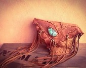 hippie,bohemian,fringe,Ostrich, Leather pouch, turquoise,Nomad World