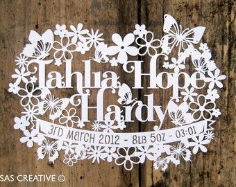 Personalised Papercut Template Baby Girls Birth Announcement Gift by Samantha's Papercuts