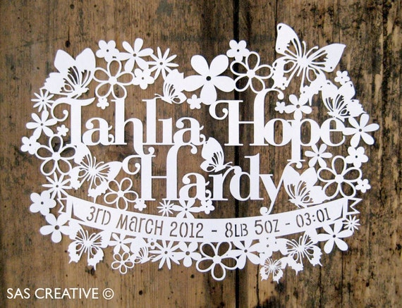 Personalised Papercut Template Baby Girls Birth Announcement