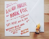 bohemian colorful wedding invitation sample // the miami // hand painted red orange ombre
