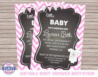 Little Baby Girl Editable Shower Invitation, Instant download, digital download, DIY, printable, add and change your own text, party