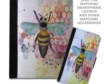 watercolor honey comb bee colorful queen B book cover protective smart cover tablet case (ipad 2 3 4, air, mini, Kindle Fire, paperwhite)