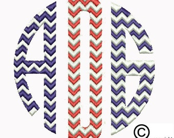 Chevron Circle Monogram Machine Embroidery Design Download (csd, dst, emd, exp,hus, jef, pes, sew, vip, vp3 & xxx formats)