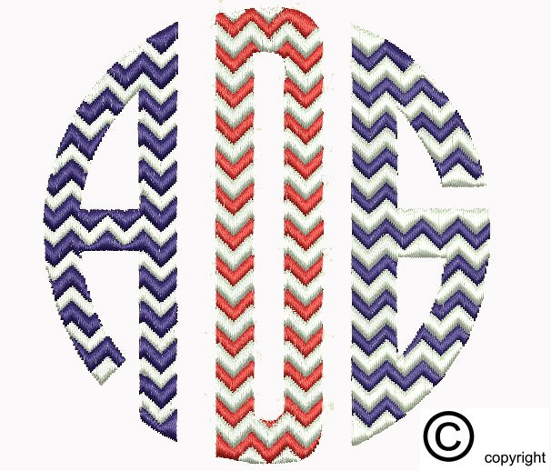 Chevron circle monogram machine embroidery design download