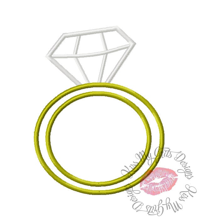 Solitaire Ring Wedding Ring Machine Embroidery Applique Design