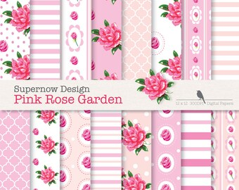 """FREE COMMERICAL use 40% Off Shabby Chic Digital Paper Pack. """"Pink Rose Garden"""" Baby Pink Papers .Roses, Stripes,Polka Dots, Quatrefoil."""