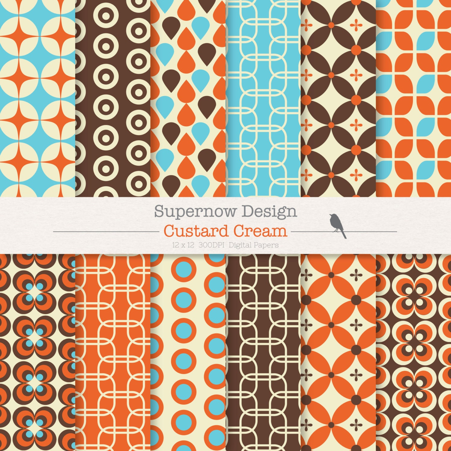 "40% Off Digital Paper Pack ""Custard Cream"" Brown, Orange"