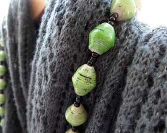 "Rolled Paper Beaded Necklace - Lime green - 32"" - Support Uganda Missions"