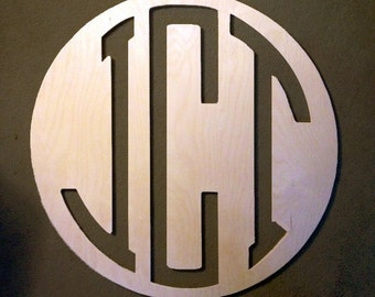 Personalized 3 Letter Wooden Circle Monogram Sign