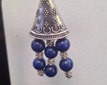 Blue gemstone and Tibetan silver dangle earrings.