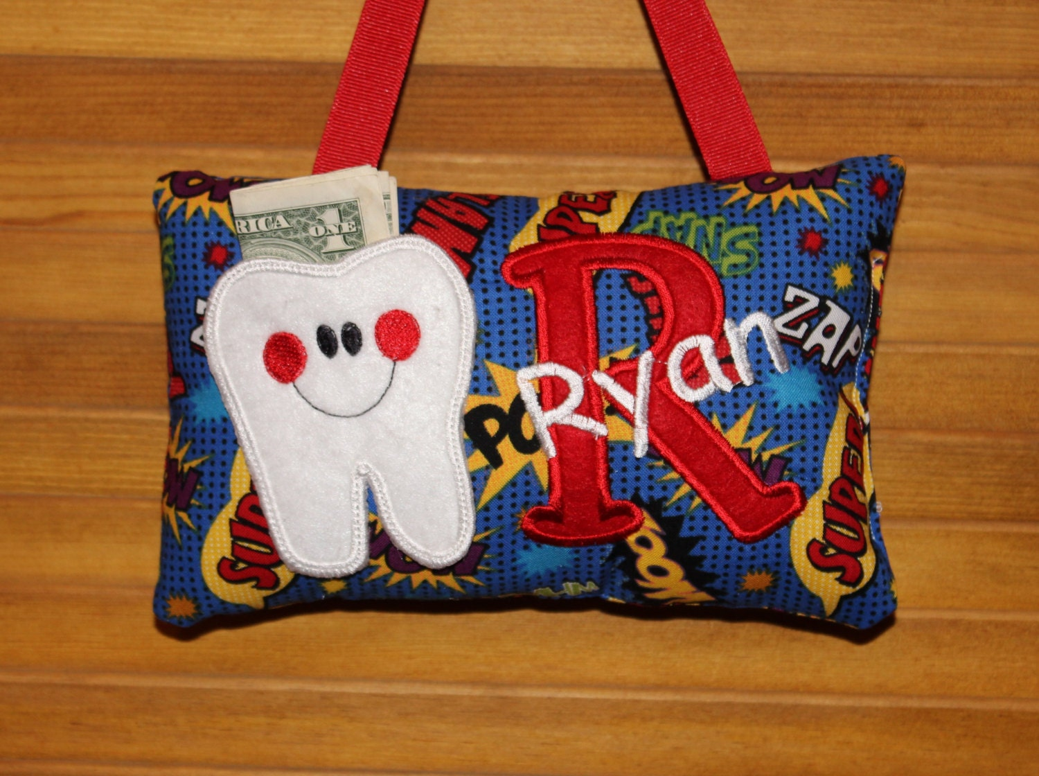 Boys Tooth Fairy Pillow Comic Book Pattern Optional Tooth