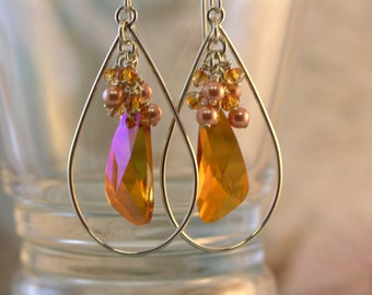 Celeste - Swarovski Crystal, Angle Wing, Sterling Silver, Teardrop Earrings, Astral Pink