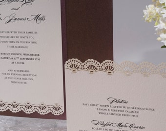 fan invitation. laser cut wedding invitation with a fan venice motif complimentary personalisation and envelopes