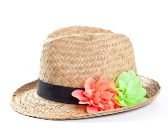 Fedora hat , Custom hat , Straw hat with twin flowers decoration in neon green & pink.