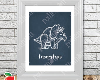 Cute Lil' Dino Triceratops Dinosaur Sketch Nursery Print